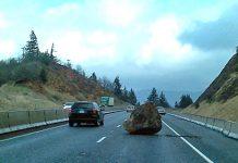 Giant rock on I-84