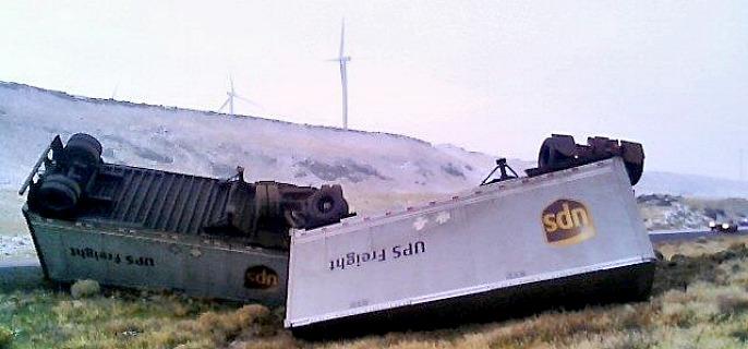 UPS Truck Overturns on Interstate 84 – Northeast Oregon Now